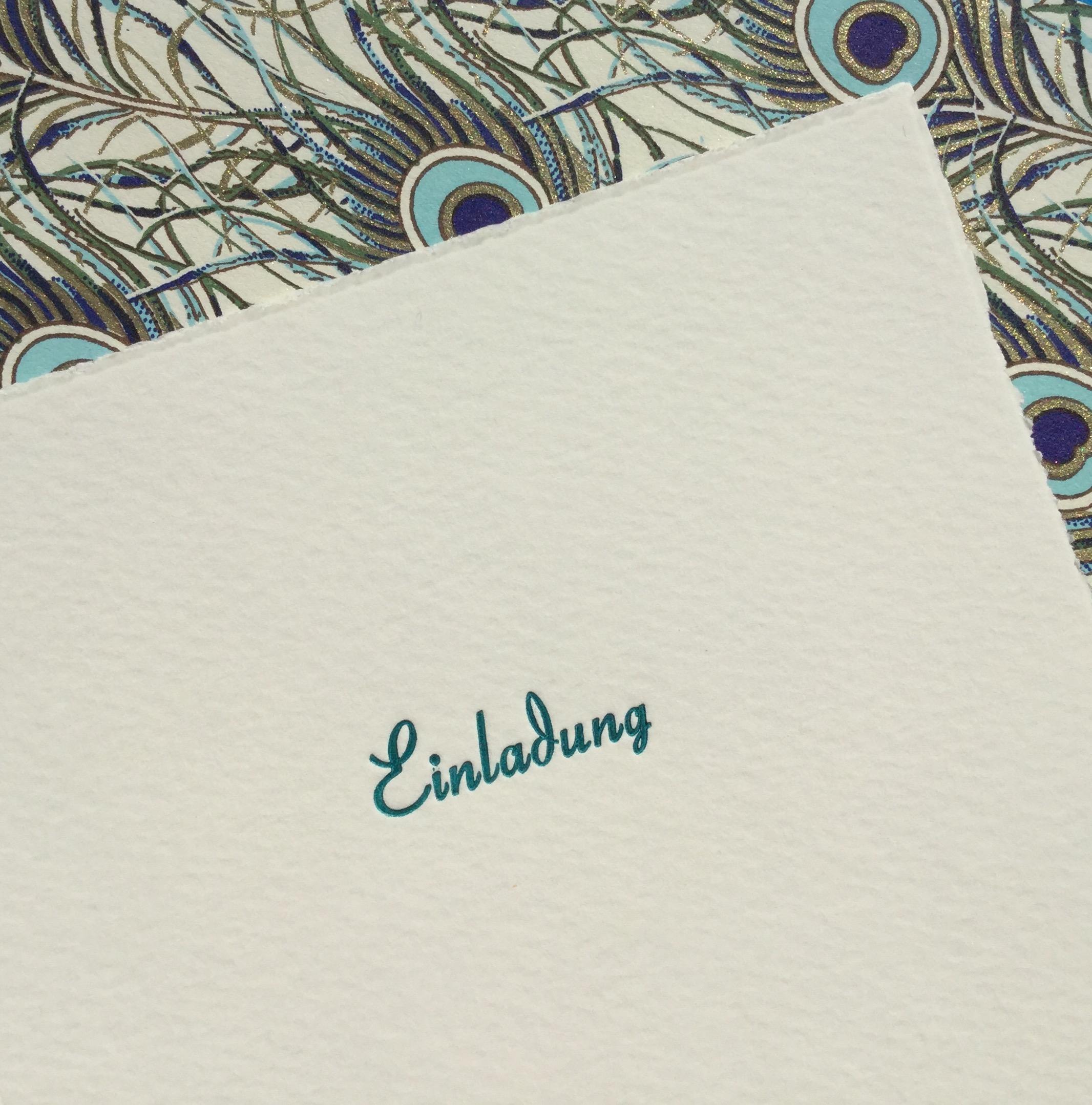Einladung Letterpress Feathers