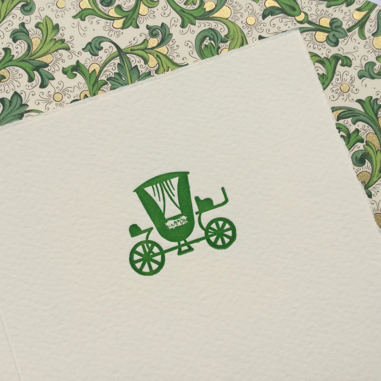 Letterpress Hochzeitskarten Kutsche