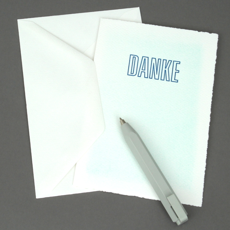 Letterpress Wash Danke