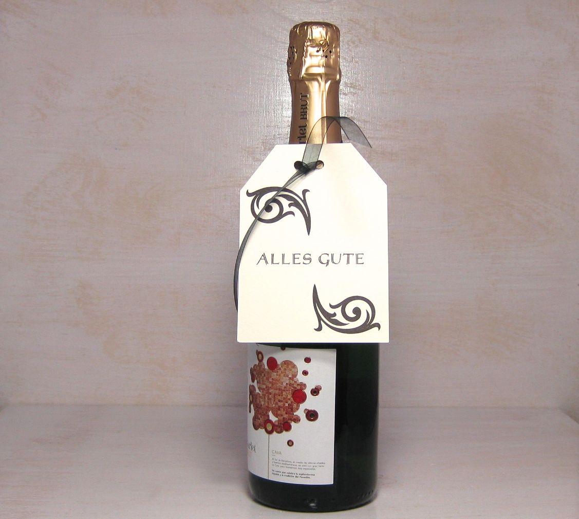 Letterpress Anhaenger Flasche Wein