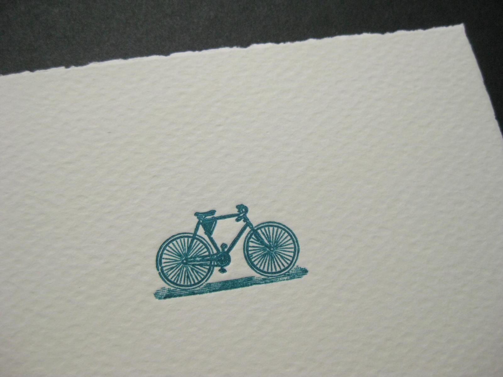 Fahrrad Letterpress Karte