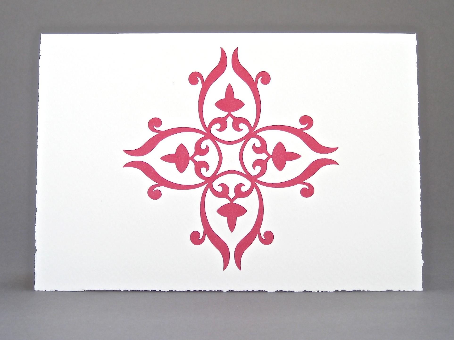 Letterpress Card Red Tile