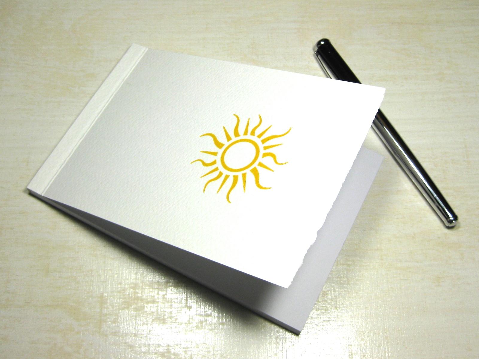 Letterpress Notizblock Sonne
