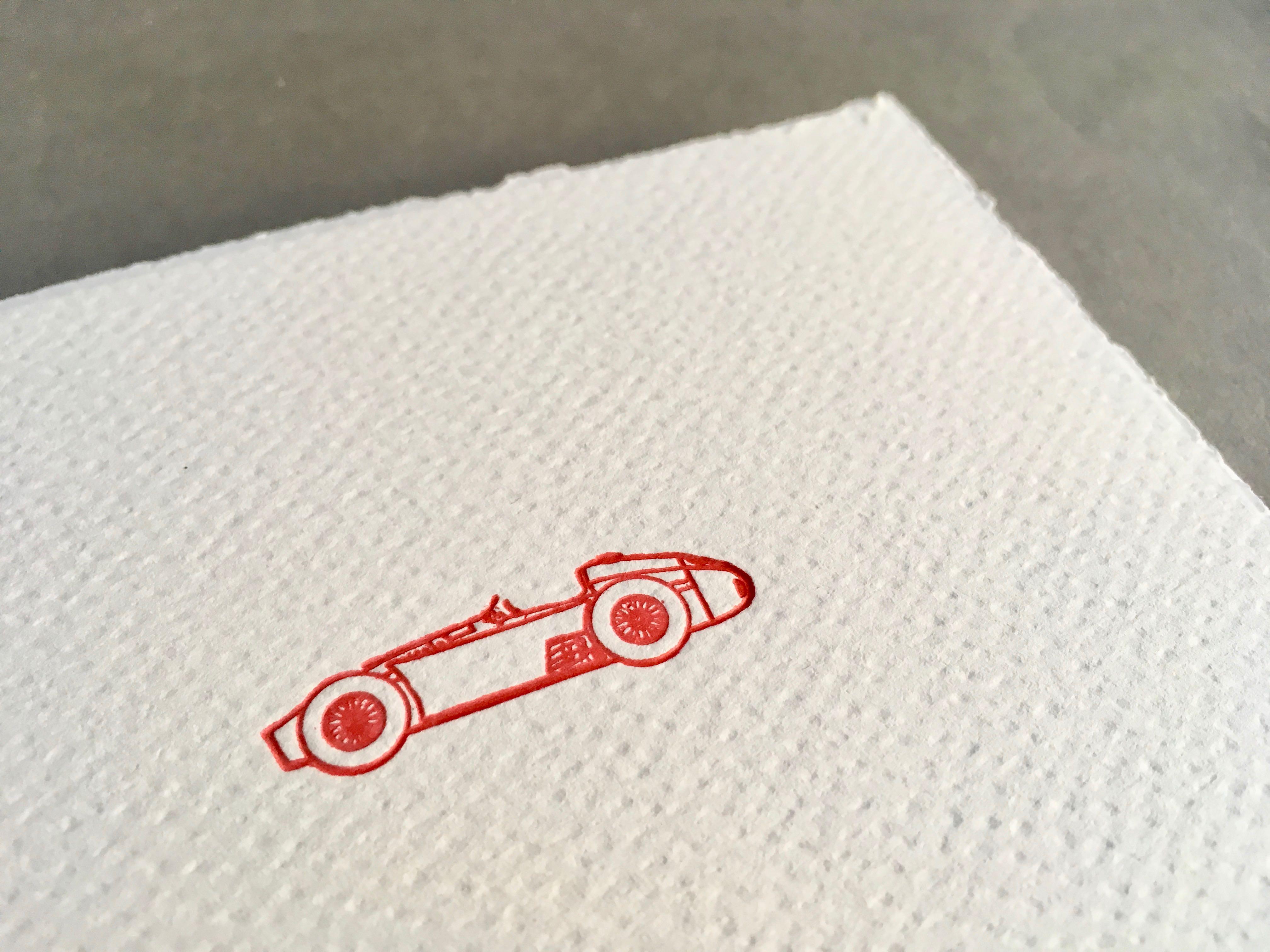 Sportscar Letterpress Karte