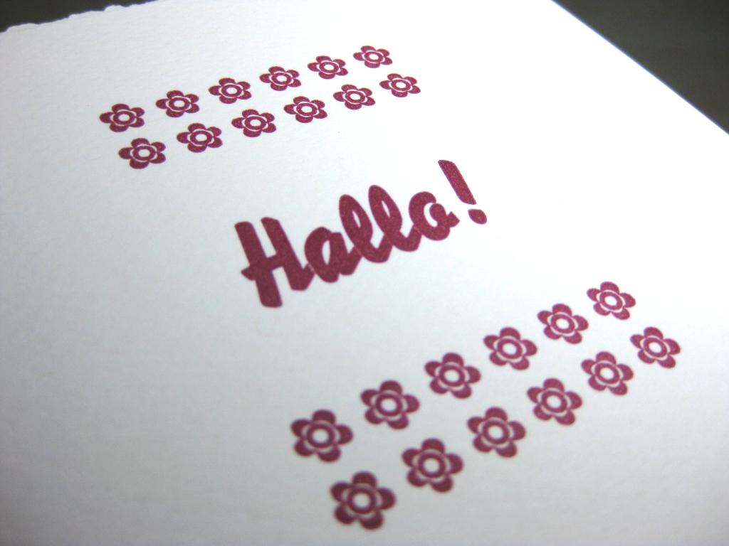 Letterpress Hallo