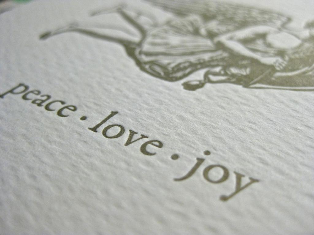 Letterpress Peace Love Joy