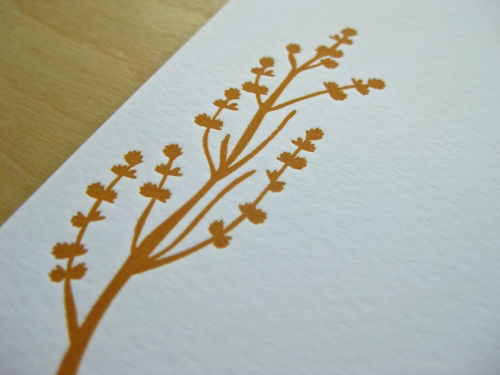 Letterpress Zweig Orange