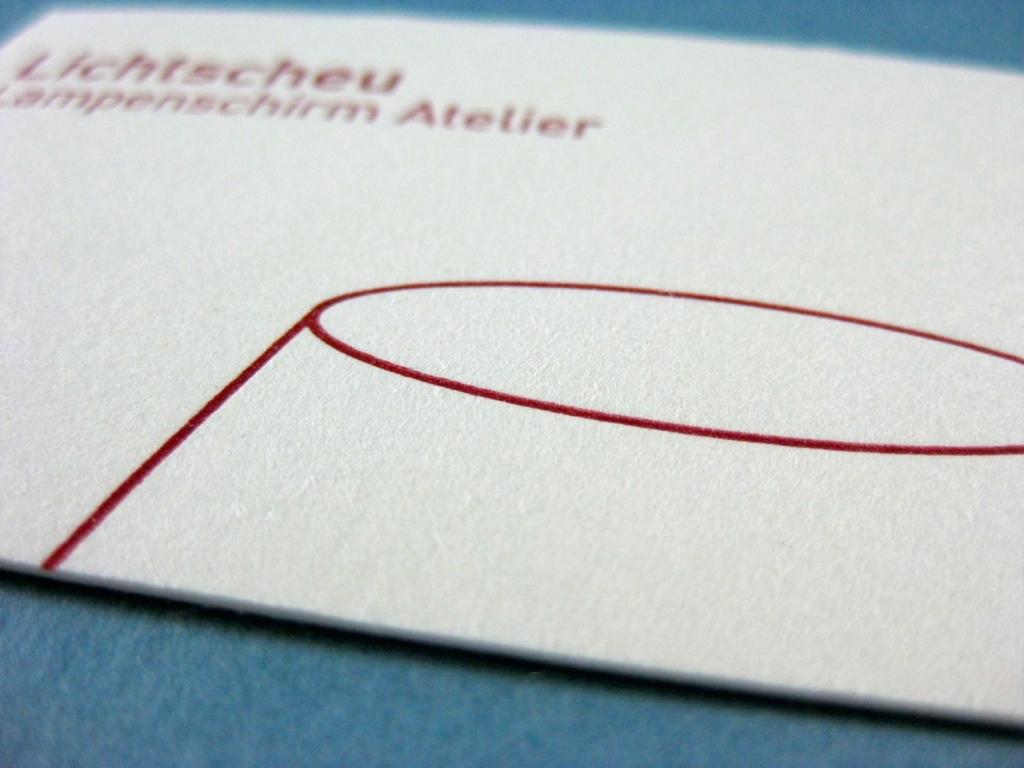 Letterpress Visitenkarte Lampe