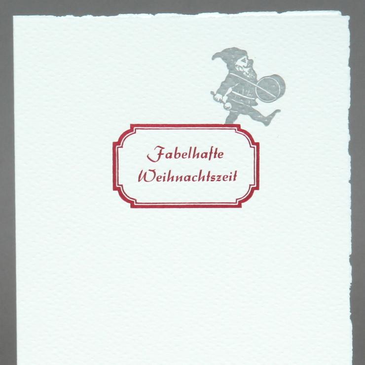 Letterpress Zwerg Fabelhafte Weihnachtszeit
