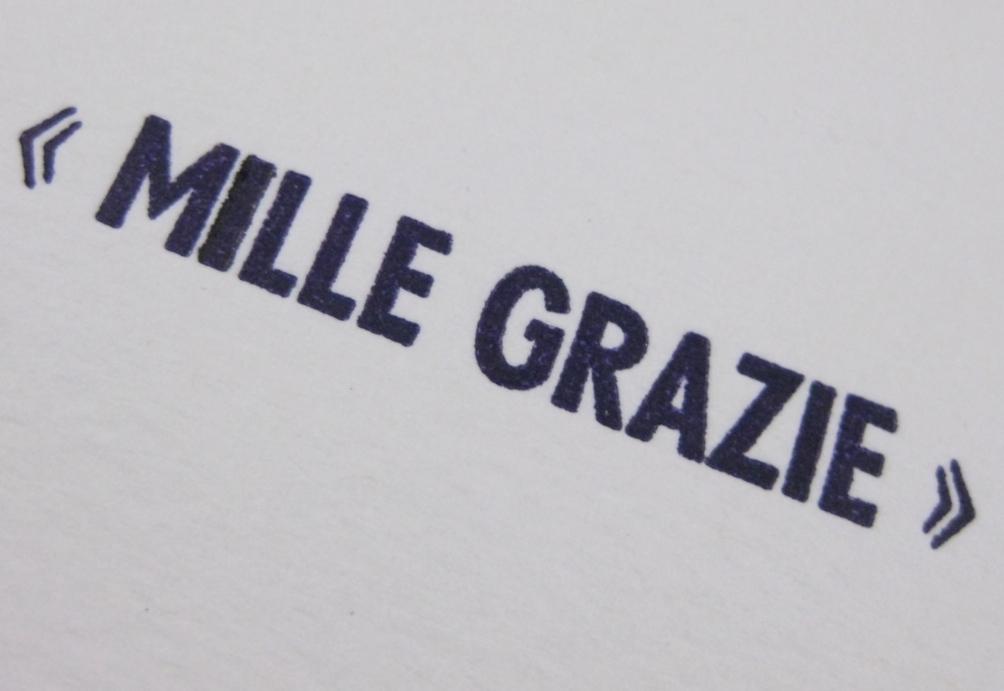 Letterpress Mille Grazie